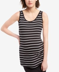 Motherhood Bumpstart Maternity Striped Tank Top Two Pack Wht And Blk Wht Strp