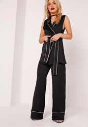 Missguided Pyjama Style Wide Leg Trousers Black Black