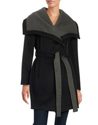Bcbgeneration Belted Wrap Coat Black Charcoal
