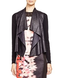T Tahari Deryn Faux Leather Panel Jacket Black