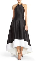 Women's Carmen Marc Valvo Infusion Embellished Colorblock Halter Gown