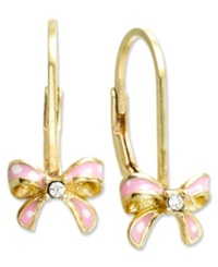 Lily Nily Children's 18K Gold Over Sterling Silver Earrings Pink Enamel Bow Earrings