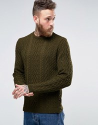Asos Cable Knit Jumper With Button Side Seam Khaki Nep Green