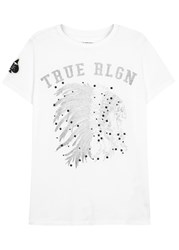 True Religion Indian Skull Printed Cotton T Shirt White