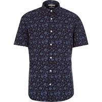 River Island Mens Navy Floral Print Short Sleeve Slim Shirt
