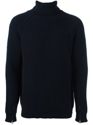 Bark Cable Knit Roll Neck Jumper Blue