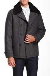 Steve Madden Faux Shearling Trimmed Wool Peacoat Gray