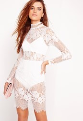 Missguided Lace High Neck Bodycon Dress White White