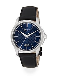 Gucci G Timeless Stainless Steel And Leather Band Watch Black