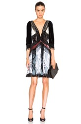Rodarte Paisley Silk Velvet Dress In Black Abstract