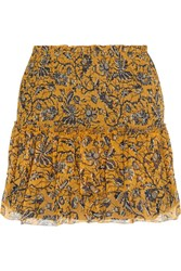 Etoile Isabel Marant Brinley Smocked Silk Georgette Mini Skirt Yellow