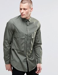 Asos Oversized Shirt In Khaki With Drop Pocket And Long Sleeves Khaki Green