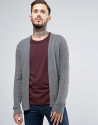 Asos Open Cable Knit Cardigan Charcoal Grey