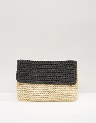 South Beach Paper Straw Clutch Bag Black