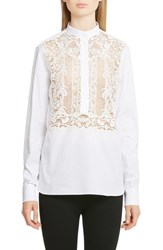 Valentino Women's Lace Inset Band Collar Blouse