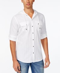 Inc International Concepts Men's Langston Herringbone Hoodie Shirt Only At Macy's White Pure