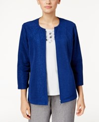 Alfred Dunner Petite Crescent City Textured Jacket Sapphire
