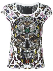 Philipp Plein Butterfly Skull T Shirt Red