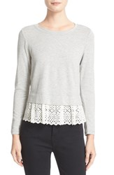 Rebecca Taylor Women's Eyelet Embroidered Hem Terry Pullover