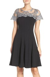 Chetta B Women's Lace Yoke Fit And Flare Dress