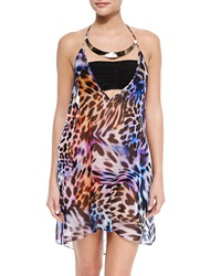Milly Cheetah Print Halter Coverup With Hardware