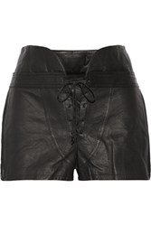 Alexander Wang Lace Up Leather Shorts Black