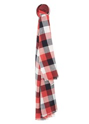 Mango Check Cotton Scarf Red