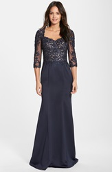Fashions Embroidered Beaded Lace And Satin Gown Navy