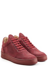 Filling Pieces Monotone Stripe Suede Sneakers Red