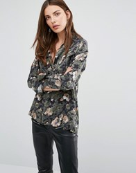 French Connection Adeline Dream Drape Floral Print Camo Shirt Olive Multi Green