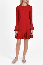 Theory Silk Flute Sleeve Dress Red