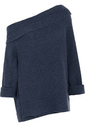 Donna Karan Off The Shoulder Ribbed Knit Cashmere Sweater Blue