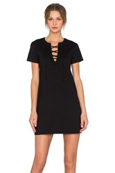 Eight Sixty Ponte Lace Front Dress Black
