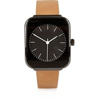 River Island Mens Light Brown Square Face Watch