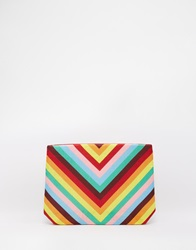 Moyna Clutch Bag In Rainbow Chevron Print Redmulti