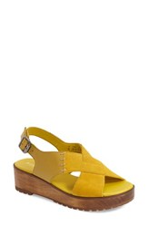 Women's Kelsi Dagger Brooklyn 'Danielle Wood' Platform Sandal Sun Yellow Leather Suede