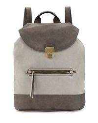 Neiman Marcus Turn Lock Flap Faux Leather Backpack Gray Dark Gray