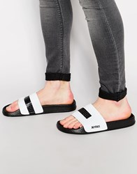 Slydes Color Block Slider Flip Flop Black