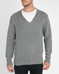 Sandro Mottled Grey Viper V Neck Sweater