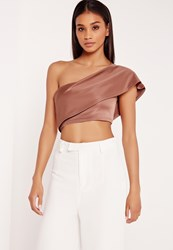 Missguided One Shoulder Crop Top Pink Red