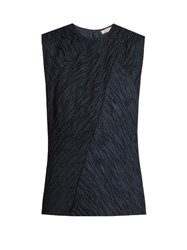 Nina Ricci Crinkle Effect Sleeveless Top Navy