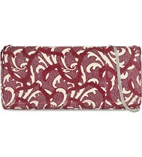 Dries Van Noten Long Leather Clutch Burgundy White