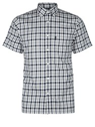 Aquascutum London Emsworth Short Sleeve Club Check Shirt Blue