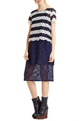 Women's Bcbgeneration Stripe Lace Tee Deep Blue Combo