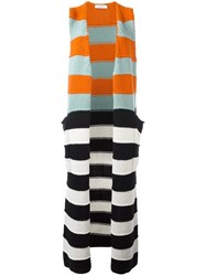 Max Mara Long Striped Sleeveless Cardigan