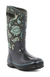 Bogs Women's 'Classic Paisley' Tall Waterproof Snow Boot With Cutout Handles Dark Gray Multi