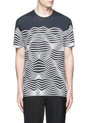Neil Barrett Nautical Stripe Print T Shirt Blue