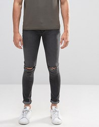 Criminal Damage Super Skinny Jeans With Knee Rips Grey