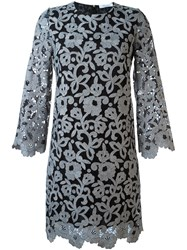 Blumarine Floral Lace Shift Dress Grey