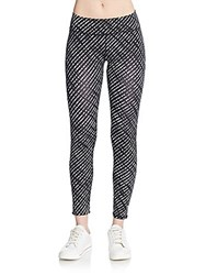 Andrew Marc New York Printed Stretch Nylon Leggings Black Multi